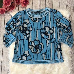 Ming Wang Floral Geometric Knit Quarter Sleeve Top